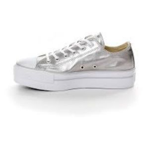 Converse Metallic Silver Platform Sneakers